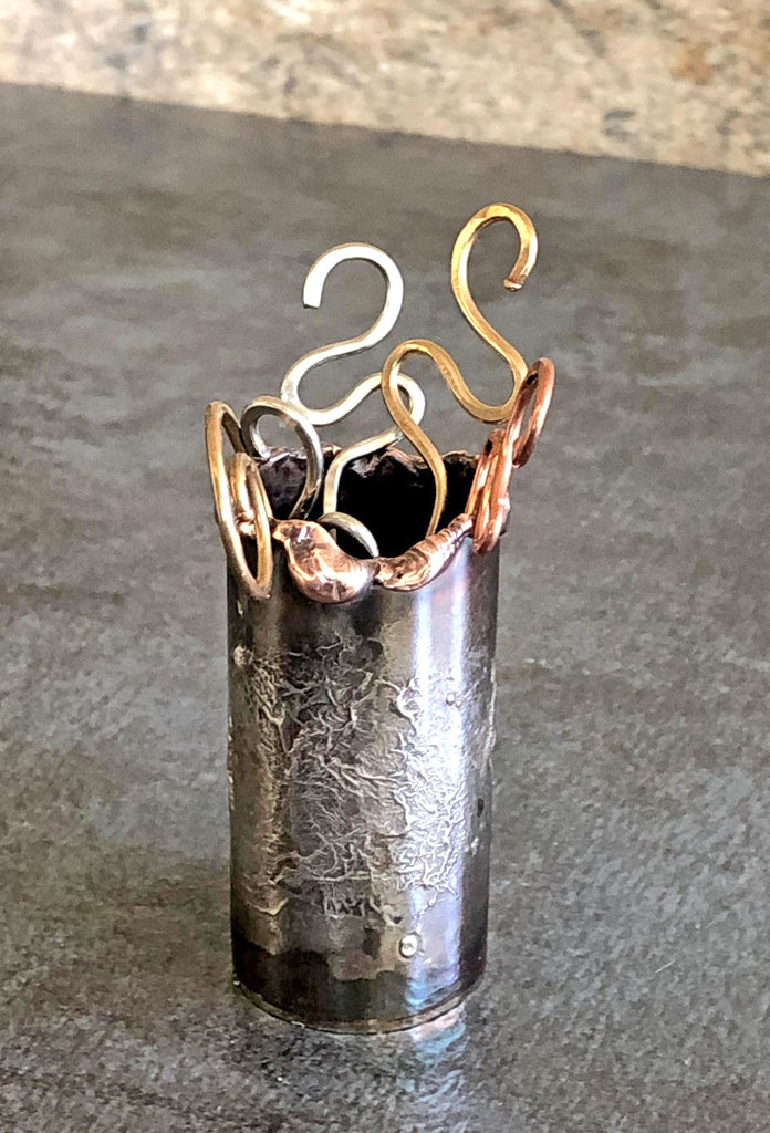 copper and silver toothpick holders
