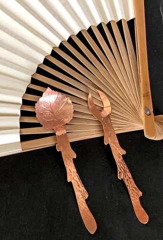 copper twig fork and copper leaf spoon set
