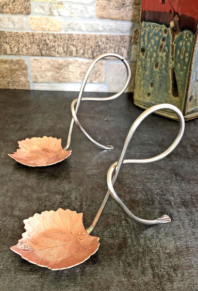 copper grape leaf candle holder with German Silver handle