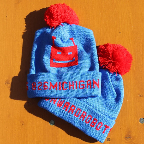 826michigan Robot Love Knit Pom-Pom Hat