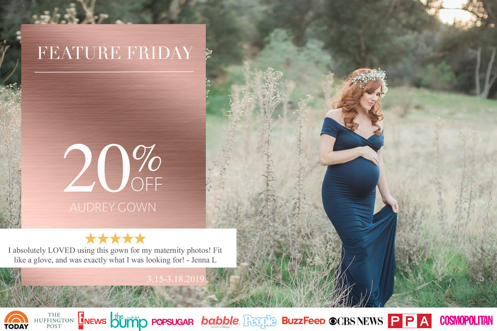 Beautiful red haired pregnant woman in a navy audrey gown by Sew Trendy, Feature Friday Sale 20% off. 3.15-3.18.2019.