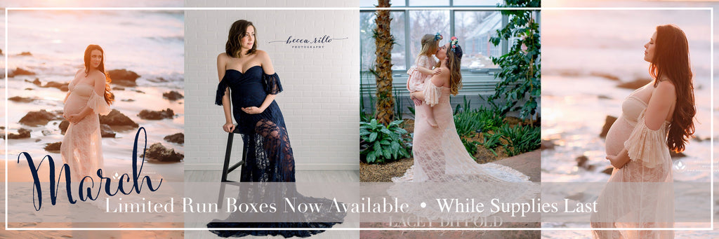 Beautiful pregnant women and child wearing limited edition dresses from the march Sew Trendy So You Studio Subscription Box.