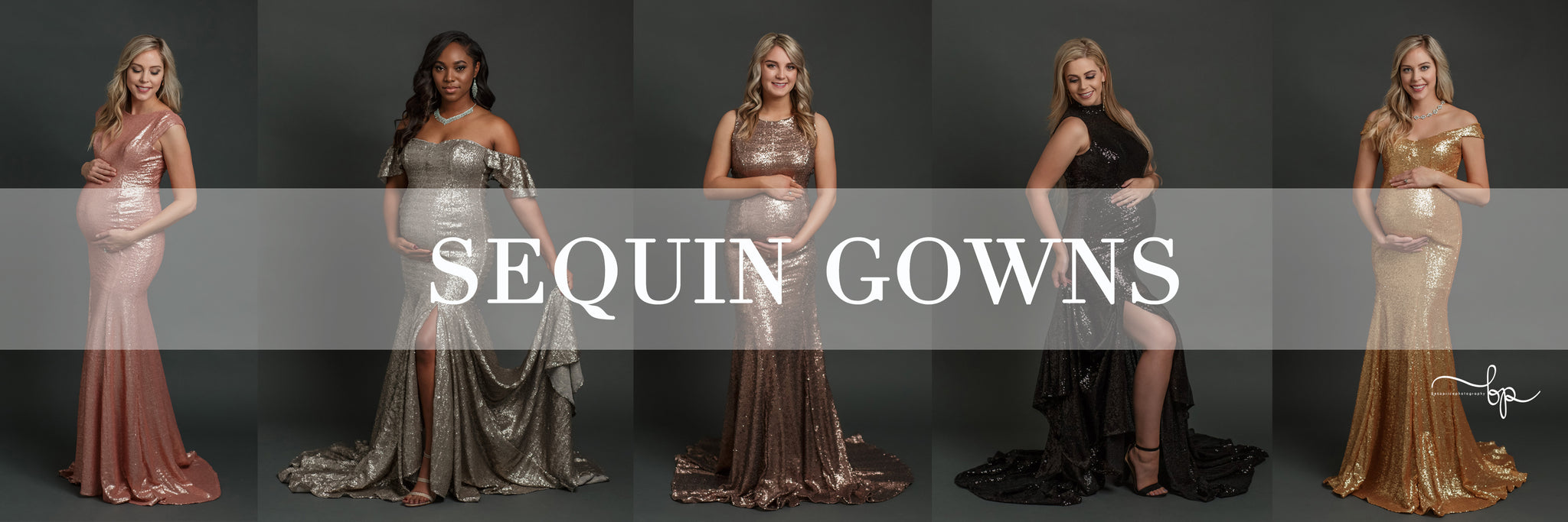 4 beautiful pregnant women wearing a variety of sequin maternity gowns by Sew Trendy with a grey backdrop.