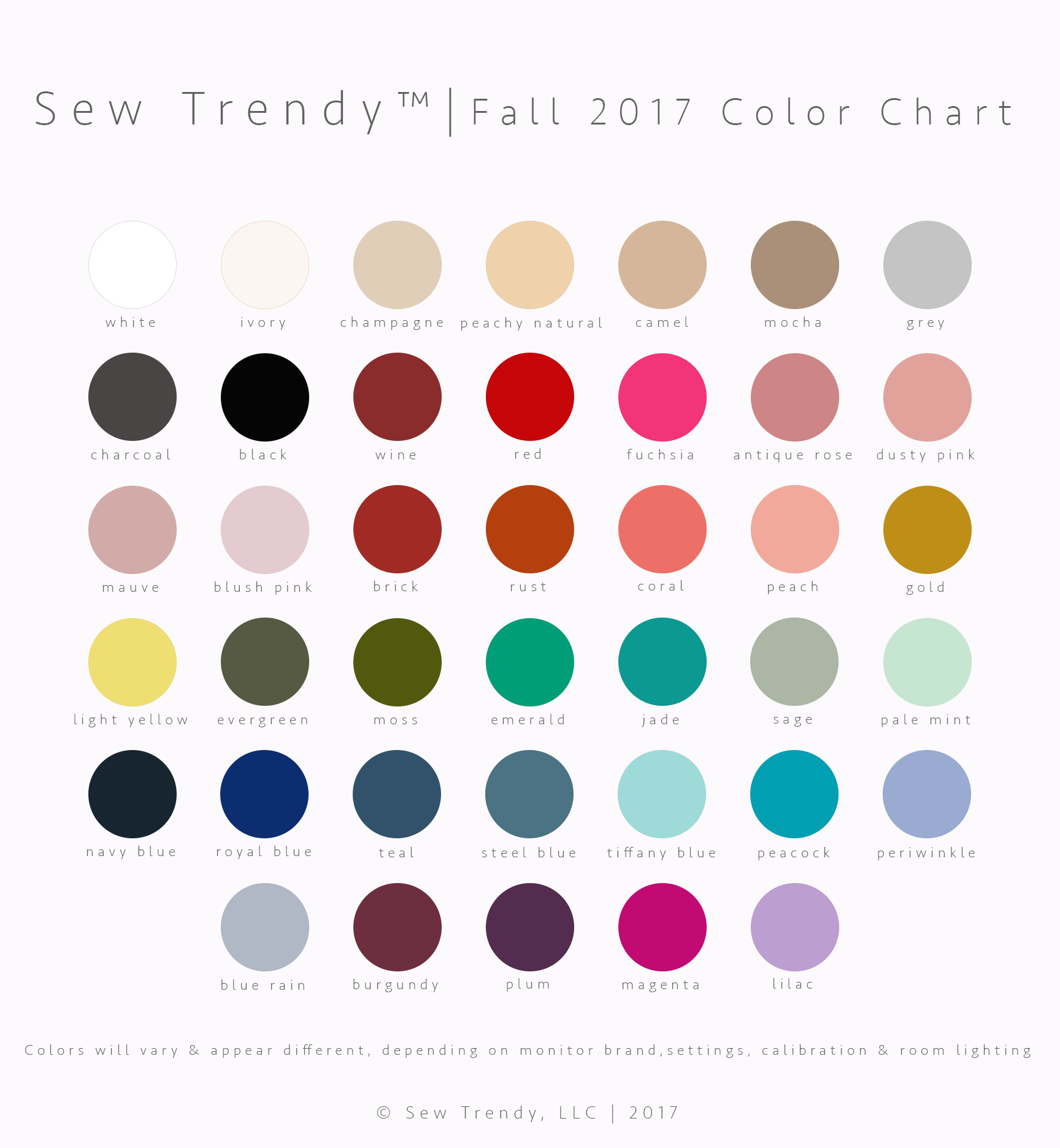 Sew trendy color chart fall winter 2017 sew trendy sew trendy color chart fall winter 2017 nvjuhfo Images