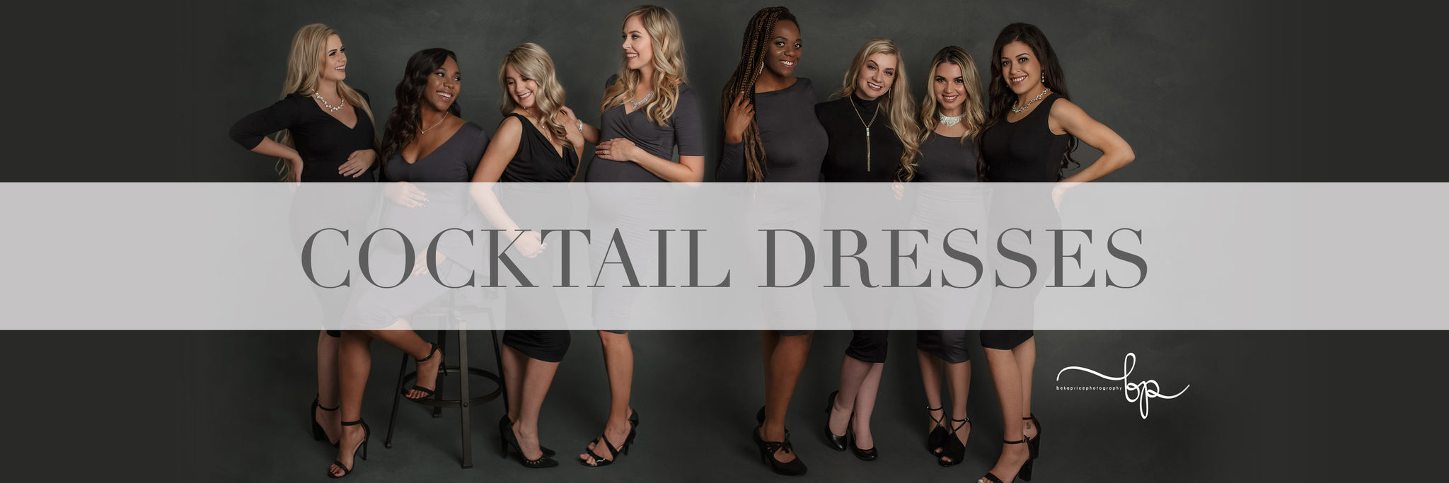 Four beautiful pregnant women wearing grey and black cocktail gowns by Sew Trendy.