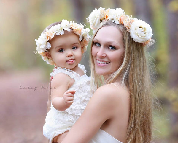 Marianne Floral Crown • Neutral Floral Crown • Grapevine Floral Halo •Maternity Crown • Fall Floral Crown • Autumn Halo | Ready To Ship • by Sew Trendy