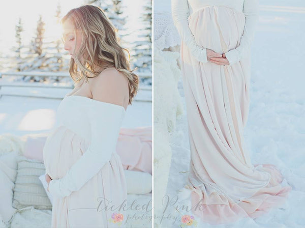 Genevieve Gown • Long Sleeve Ombre Gown • Heavy Knit 3 Panel Ombre Maternity Gown • by Sew Trendy
