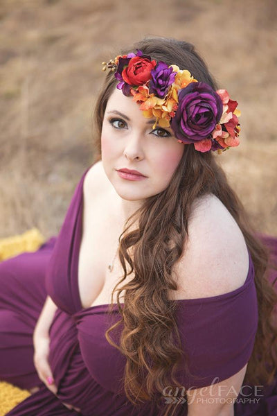 Mable Plum Floral Crown • Fall Floral Crown • Autumn Floral Crown • Bohemian Crown • Wedding Crown • Plum Floral Crown | Ready To Ship • by Sew Trendy