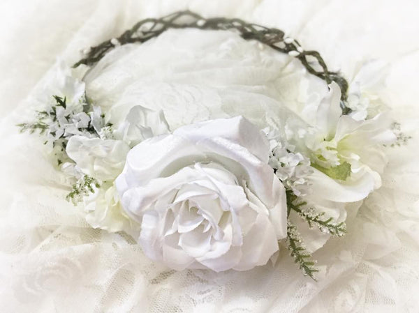 Wednesday Floral Crown • Pip Berry Crown • White Floral Crown • Grapevine Crown • Bridal Headpiece • Flowergirl Headband | Ready To Ship • by Sew Trendy