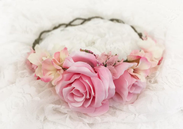 Avery Pink Floral Crown • PINK Floral Crown • Wedding Head Piece • Princess Floral Crown • Bohemian Crown • Flower Girl | Ready To Ship • by Sew Trendy