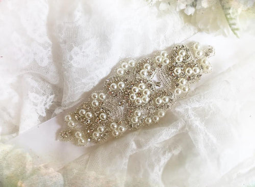 Paris Pearl Sash • Sparkle Sash • Pearl Sash • Wedding Sash • Maternity Sash • Gown Sash • Dress Sash | READY TO SHIP • by Sew Trendy