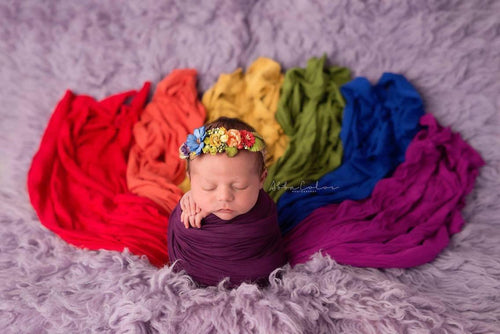Jewel Toned Newborn Girls 7 PIECE Wrap Set {Jewel tones} • Rainbow Baby Line • Baby Wrap • Photo Prop | READY TO SHIP • by Sew Trendy