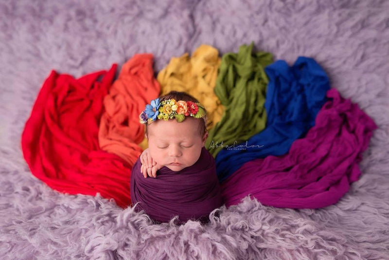 7 PIECE Rainbow Newborn Wrap Set {Vibrant Jewel tones} | Ready To Ship