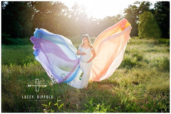 Rainbow Detachable Tossing Train • Rainbow Baby Pastel Train • Chiffon Detachable Train • Maternity Gown Train • Maternity Dress Train • Wedding Train • Photo Session Gown Train • by Sew Trendy