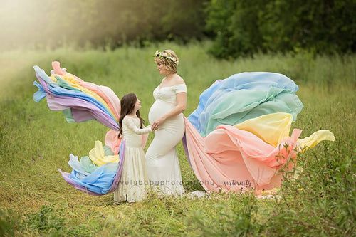 Rainbow Detachable Girls Tossing Train • Rainbow Baby Pastel Train • Chiffon Detachable Train • Maternity Gown Train • Maternity Dress Train • Wedding Train • Photo Session Gown Train • by Sew Trendy
