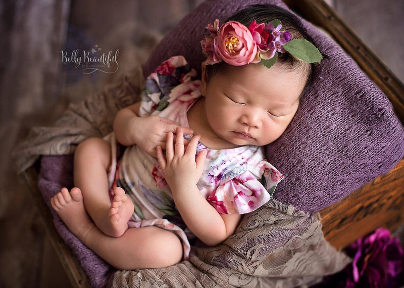 Ava Floral Romper {grey floral}-newborn dress-Sew Trendy Accessories