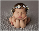 Mini Quinn Crown • Mini Newborn Floral Crown • Dainty Floral Crown • Pristine Crown • Whimsical Crown • Grapevine Floral Crown • Petite Floral Crown | READY TO SHIP • by Sew Trendy