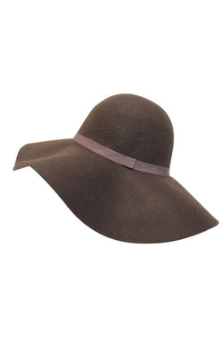 Wide Brim Floppy Hat in Dusty Brown