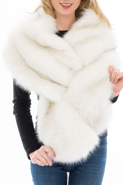 Ivory Wide Fur Stole