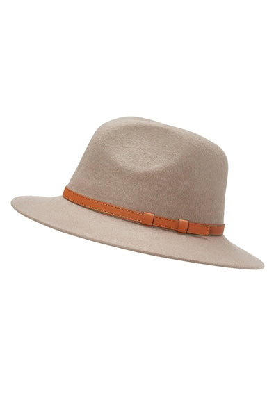 Belted Panama Hat in Taupe Grey