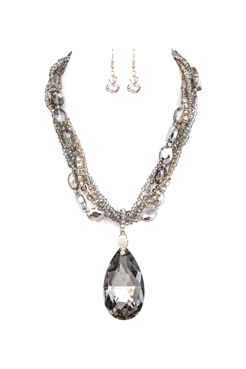 Black Diamond Pendant Necklace and Earring Set