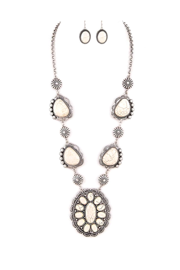 Boho Stone Blossom Necklace Set