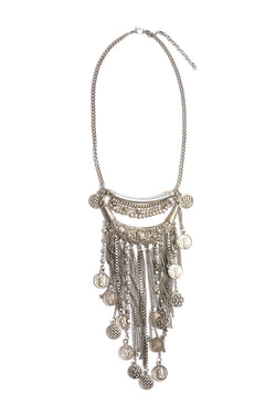 Boho Silver Coin Statement Necklace