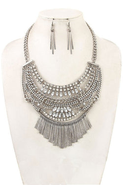 Boho Silver Bib Necklace