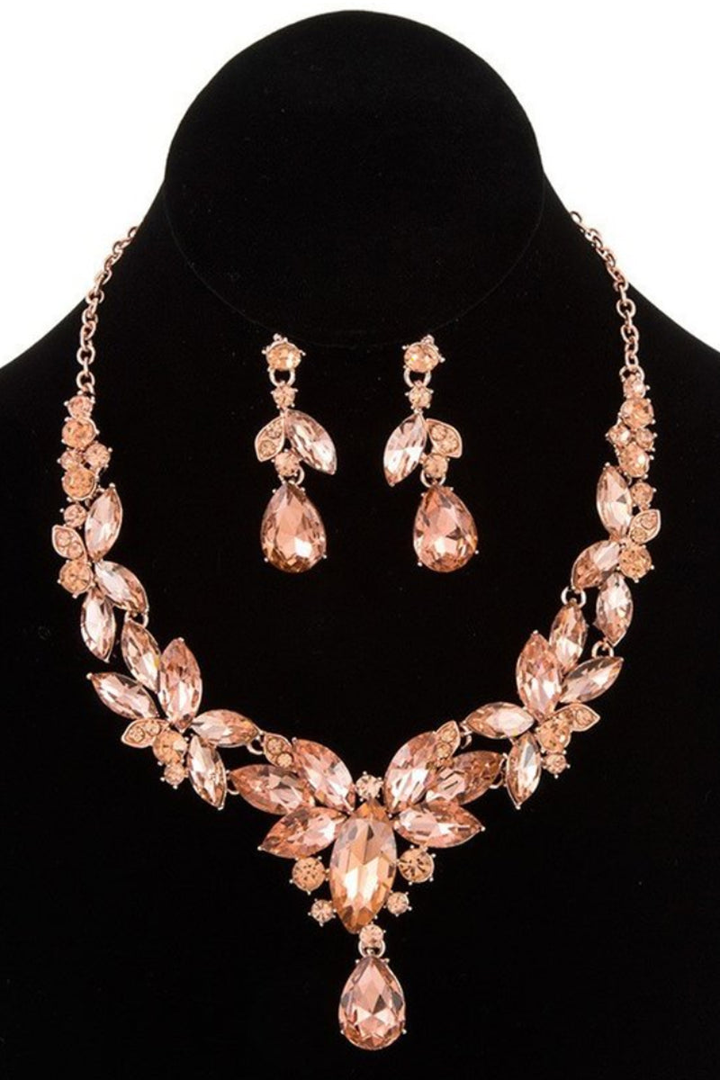 Peach Teardrop Statement Necklace Set