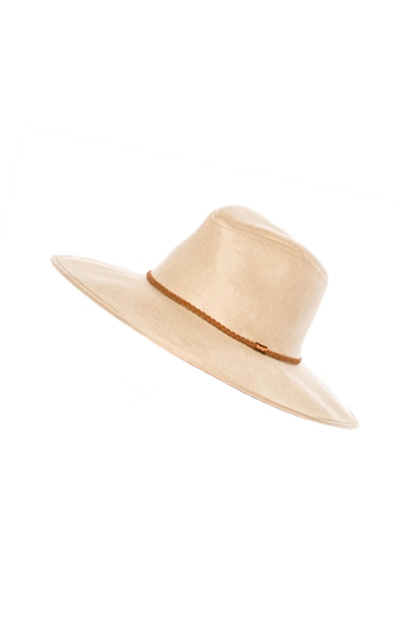 Faux Suede Panama Hat in Sand