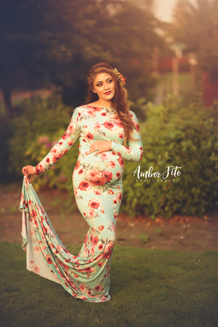 Floral Krysten Gown-Maternity Gown-Sew Trendy Accessories