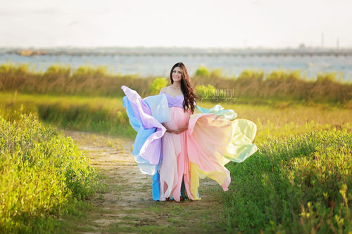 Miracle Gown {Pastel tones} •  Rainbow Baby Line • Rainbow Maternity Gown • Multi-layer Chiffon Dress • Maternity Dress • Chiffon Maternity Gown • Rainbow Pregnancy Gown • by Sew Trendy