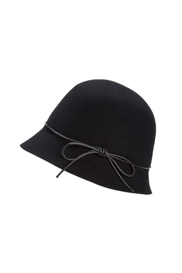 Wool Cloche Hat in Black