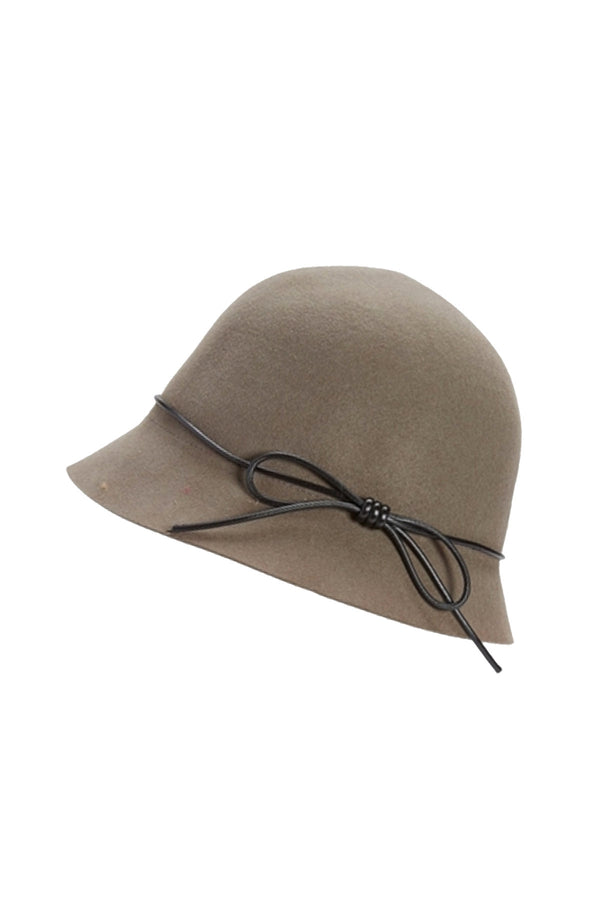 Wool Cloche Hat in Taupe Grey