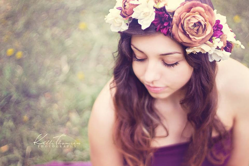 Marianne Flower Crown {plum} | LAST CHANCE