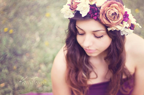 Marianne Floral Crown • Plum Floral Crown • Grapevine Floral Halo • Bohemian Crown • Fall Floral Crown • Autumn Halo | Ready To Ship • by Sew Trendy