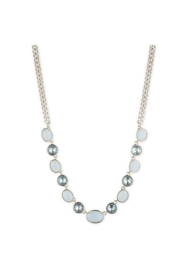 DKNY Gold tone and blue stone necklace