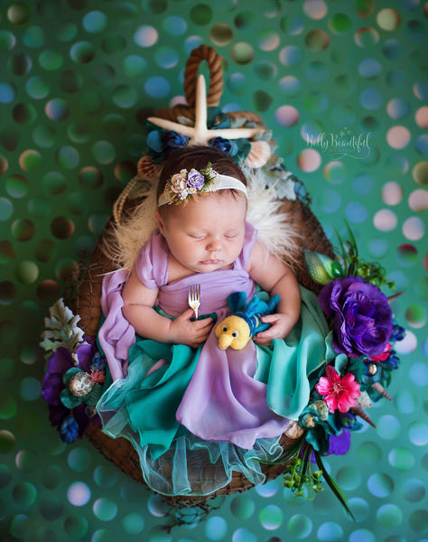 Rielle Newborn Princess Dress • The Little Mermaid Style Newborn Dress • Dream Baby • Princess Baby Dress • Sitter Princess Dress • Princess Newborn Gown • by Sew Trendy
