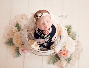 Floral Newborn Wrap {Black Floral} | Ready To Ship | FREE SHIPPING