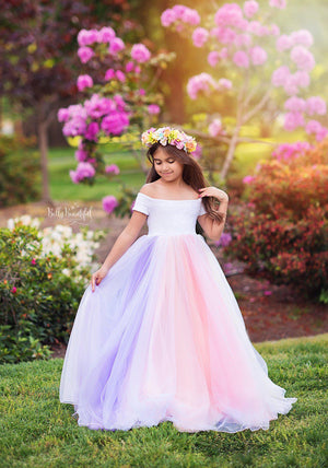 Reverie Gown • Rainbow {PASTEL TONES}-girls dresses-Sew Trendy Accessories