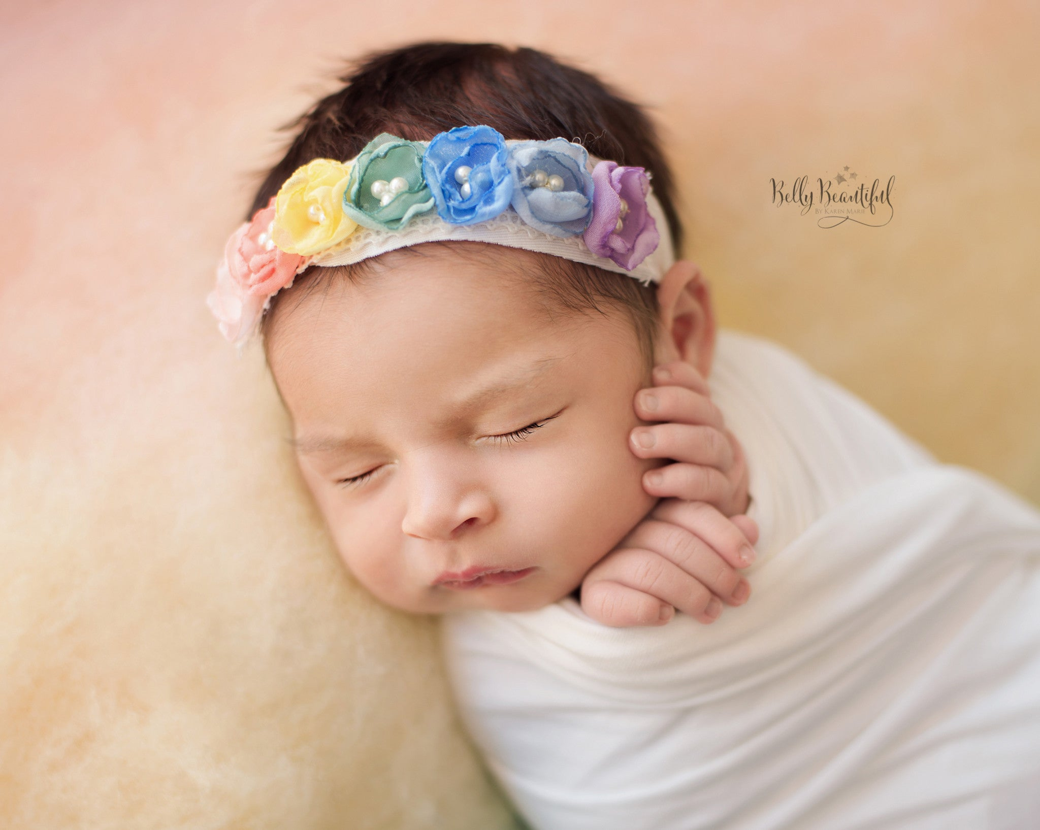 Rainee Floral Newborn Tieback {pastel tones} • Rainbow Baby Line • Newborn Rainbow Floral Crown • Hope Floral Crown • Bohemian Crown • Rainbow Baby Crown | READY TO SHIP • by Sew Trendy