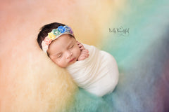 Rainee Newborn Tieback & Wrap SET {pastel tones} • Rainbow Baby Line • Newborn Rainbow Floral Crown • Hope Floral Crown • Bohemian Crown • Rainbow Baby Crown | READY TO SHIP • by Sew Trendy
