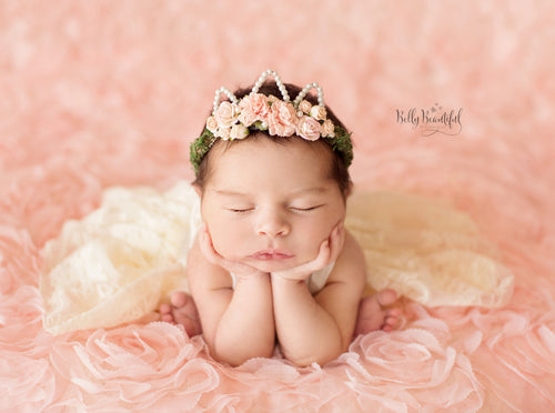Mini Ingrid Newborn Floral Crown • Princess Floral Crown • Paper Organic Floral Crown • Bohemian Crown • Moss Grapevine Crown • Pearls | Ready To Ship •  by Sew Trendy