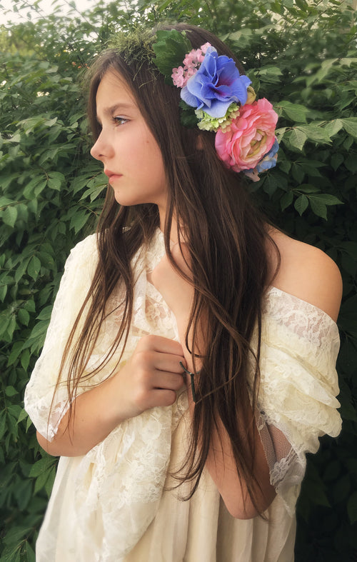 Nadia Floral Crown • Pastel Floral Crown • Hydrangea Crown • Party Crown • Bohemian Crown | Ready To Ship • by Sew Trendy