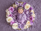 Mini Ingrid Newborn Floral Crown in Purple • Princess Floral Crown • Paper Organic Floral Crown • Bohemian Crown • Moss Grapevine Crown • Pearls | Ready To Ship •  by Sew Trendy