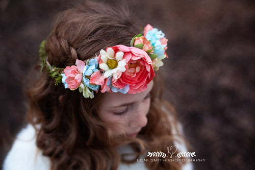 Gladys Crown • Gladys Floral Crown • Soft Floral Crown • Peachy Floral Crown • Princess Floral Crown • Bohemian Floral Crown | Ready To Ship • by Sew Trendy