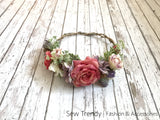 Briar Flower Crown • Antique Rose Crown • Wedding Flower Crown • Flower Girl Crown | Ready To Ship • by Sew Trendy