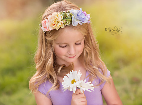 Esperanza Floral Crown {pastel tones} • Rainbow Baby Line • Rainbow Floral Crown • Hope Floral Crown • Bohemian Crown • Rainbow Baby Crown | READY TO SHIP • by Sew Trendy