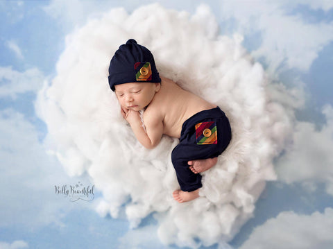 Gabriel Pant Set • Rainbow Baby Boy Pant and Hat Set • Newborn 2 Piece Rainbow Set | Ready to Ship • by Sew Trendy
