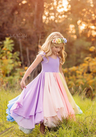 Evangeline Gown {pastel tones} •  Rainbow Baby Line • Rainbow Girls Gown • Multi-layer Chiffon Dress • Girls Hope Dress • Chiffon Gown • by Sew Trendy